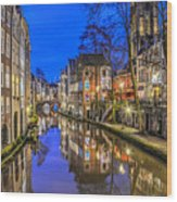 Utrecht From The Bridge By Night Wood Print