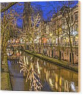 Utrecht Old Canal By Night Wood Print