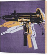 Uzi Sub Machine Gun On Purple Wood Print