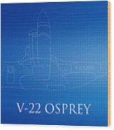 V-22 Osprey Blueprint Wood Print