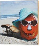 Vacationing Jack-o-lantern Wood Print