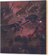 Vader Vs Aliens 1 Wood Print