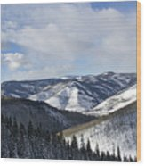 Vail Valley From Ski Slopes Wood Print by Brendan Reals