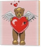 Valentine Bear Wood Print