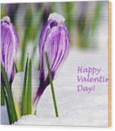 Valentines Day Crocuses Wood Print