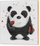 Valentine's Panda Wood Print