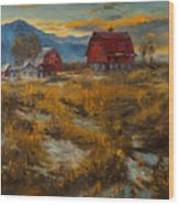 Valley Farm Sunset Wood Print