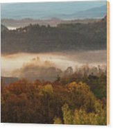 Valley Fog At Sunrise One Wood Print