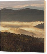 Valley Fog At Sunrise Two Wood Print