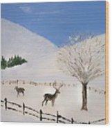 Valley Of Snow Wood Print