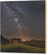 Valley Road Homestead Under A Milky Way Wood Print