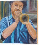 Van Gogh Plays The Trumpet Wood Print