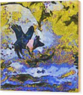 Van Gogh.s Flying Pig 3 Wood Print