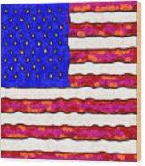 Van Gogh.s Starry American Flag . Square Wood Print