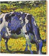 Van Gogh.s Starry Blue Cow . 7d16140 Wood Print
