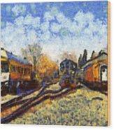 Van Gogh.s Train Station 7d11513 Wood Print