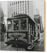 Van Ness And Market Cable Car- By Linda Woods Wood Print