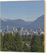 Vancouver Bc City Skyline And Mountains View Wood Print