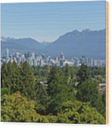 Vancouver Bc City Skyline From Queen Elizabeth Park Wood Print