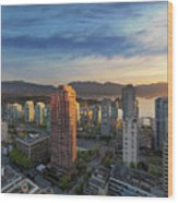 Vancouver Bc Cityscape At Sunset Wood Print