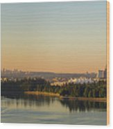 Vancouver Bc Cityscape By Stanley Park Morning View Wood Print