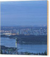 Vancouver Bc Cityscape During Blue Hour Dawn Wood Print