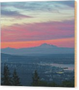Vancouver Bc Cityscape With Cascade Range Morning View Wood Print