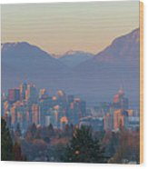 Vancouver Bc Downtown Cityscape At Sunset Panorama Wood Print