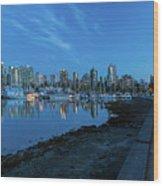 Vancouver Bc Skyline Along Stanley Park Seawall Wood Print