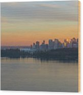 Vancouver Bc Skyline And Stanley Park At Sunset Wood Print