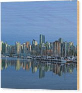 Vancouver Bc Skyline During Blue Hour Panorama Wood Print
