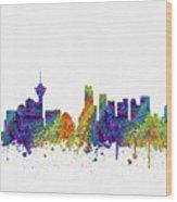 Vancouver British Columbia Skyline Color03 Wood Print