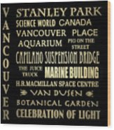 Vancouver Canada Famous Landmarks Wood Print