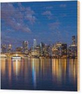 Vancouver City Twilight Wood Print