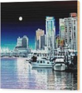 Vancouver Harbor Moonrise  Wood Print