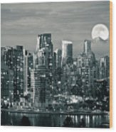 Vancouver Moonrise Wood Print