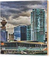 Vancouver Skyline Hdr Wood Print