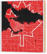 Vancouver Street Map - Vancouver Canada Road Map Art On Canada Flag Symbols Wood Print