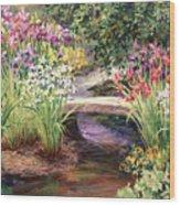 Vandusen Garden Iris Bridge Wood Print