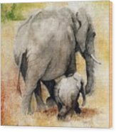 Vanishing Thunder Series - Mama And Baby Elephant Wood Print