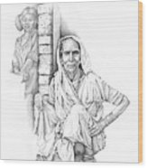 Varanasi Woman Wood Print