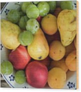 Variety Of Fresh Summer Fruit On A Plate Wood Print by Sami Sarkis