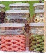 Various Cookies In Glass Jars Wood Print