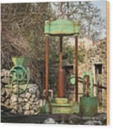 Various Old Rusty Vintage Agricultural Devices In Croatia Wood Print