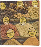 Various Spices Wood Print