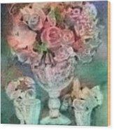 Vase Full Of Roses Wood Print
