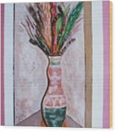 Vase In Cubby Hole Wood Print