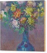Vase Of Chrysanthemums Wood Print