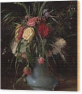 Vase Of Flowers And A Visiting Card Wood Print