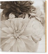 Vase Of Flowers In Sepia Wood Print